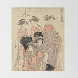 The Courtesans Maizumi Of The Daimonjiya Brothel Throw Blanket