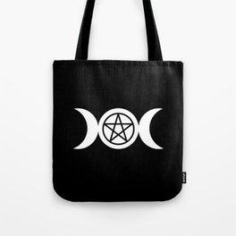 Goddess and Pentacle Symbols - White on Black Tote Bag