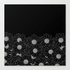 Daisy Boarder Black Canvas Print