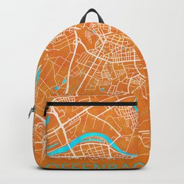 Offenbach am Main, Germany, Gold, Blue, City, Map Backpack