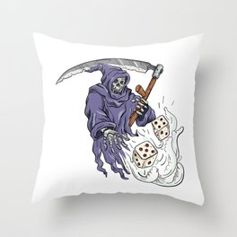 Grim Reaper Throwing the Dice Drawing Color Throw Pillow