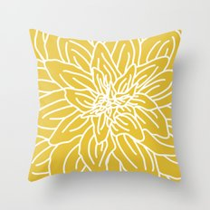Abstract Flower Yellow Throw Pillow