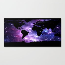 world map. : Galaxy Map Purple Blue Canvas Print