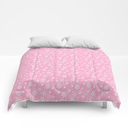 Festive Sweet Lilac Pink and White Christmas Holiday Snowflakes Comforters