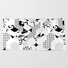 In between the lines and dots Beach Towel
