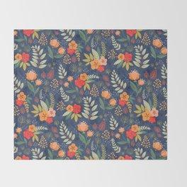 Navy Floral Throw Blanket