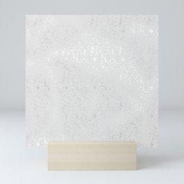 Blush gray white silver elegant glam pattern Mini Art Print