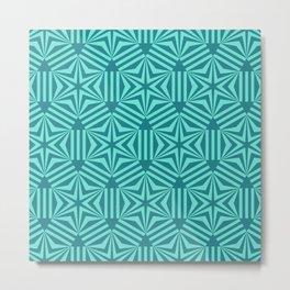 Cyan geometric hexagon stars op art Metal Print