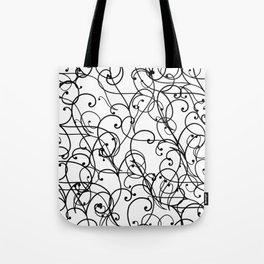 black thin pattern on white underground Tote Bag