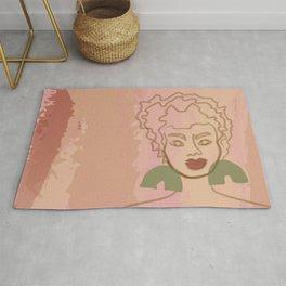 Ashley watercolor line art - pink Rug