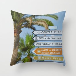 Welcome to the French Riviera - Fine Arts Travel Photography Throw Pillow