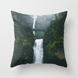 Fog at Multnomah Falls, Oregon Throw Pillow