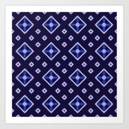 Blue Diamond Pattern Art Print