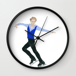 The boy in the blue vest. Figure skater. Wall Clock