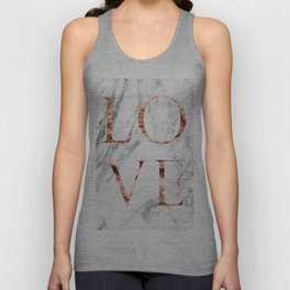 Rose gold marble LOVE Unisex Tank Top
