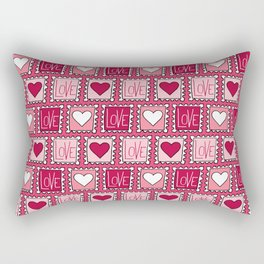 Love and heart stamp pattern in pink Rectangular Pillow