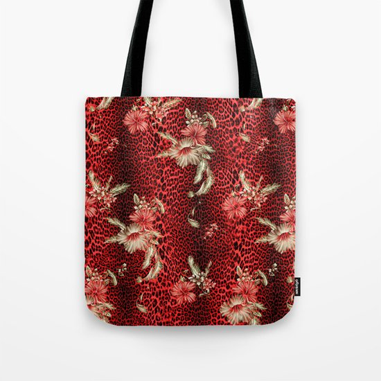 Wild Red Leopard and Flowers Tote Bag