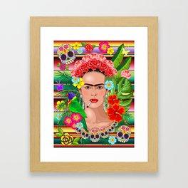 Frida Kahlo Floral Exotic Portrait Framed Art Print
