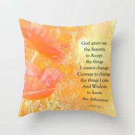 Serenity Prayer Orange Poppy Garden Glow Throw Pillow
