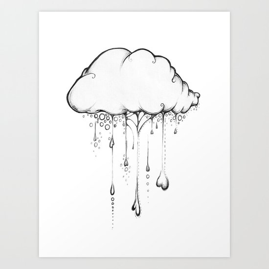 Happy Cloud Drawing, Cute Whimsical Illustration Art Print