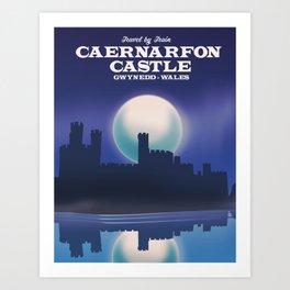 Caernarfon Castle, Gwynedd Wales castle travel poster Art Print
