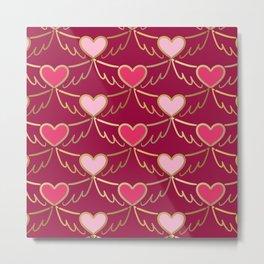 Golden Wings of Love (pattern) wine Metal Print