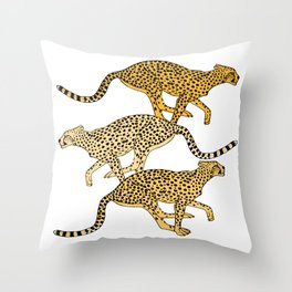 Go Cheetahs Go Pen and Ink by Lorloves Design Throw Pillow