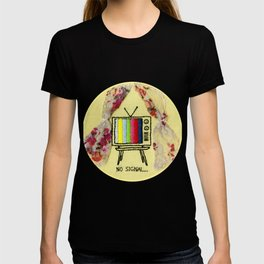 No Signal Vintage TV Embroidery T-shirt