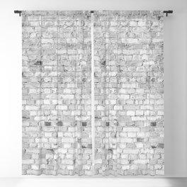 White Washed Brick Wall - Light White and Grey Wash Stone Brick Blackout Curtain
