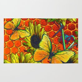 ORANGE-YELLOW BUTTERFLIES & SUNFLOWERS ARTISTIC HONEYCOMB DRAWING Rug