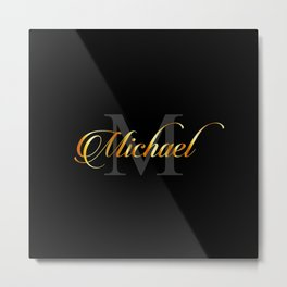 Name and initial of a boy Michael in golden letters Metal Print