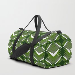 Grassy rhombuses of white stars with hearts in a bright intersection. Duffle Bag