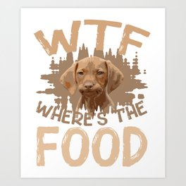 Dog mutt Doggy Food Hungry Funny Art Print