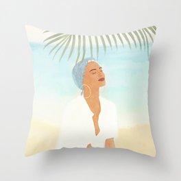 Under a Beach Palm Throw Pillow