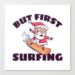 Surfing Santa Claus Canvas Print
