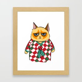 Ginger Cat in Holiday Sweater 06 Framed Art Print
