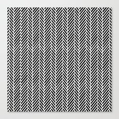Herringbone Black Inverse Canvas Print