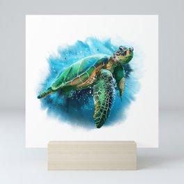 Abstract Watercolor Sea Turtle on White 3 Minimalist Coastal Art - Coast - Sea - Beach - Shore Mini Art Print