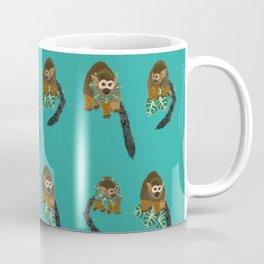Squirrel Monkey Jungle Leaf Pattern Coffee Mug