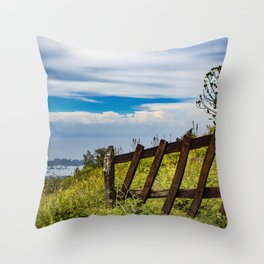 Wood Fence Lining a Meadow with Lake Views on Mombacho Volcano in Nicaragua Throw Pillow