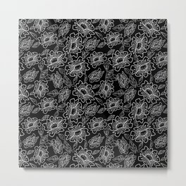 white black flowers 2 Metal Print