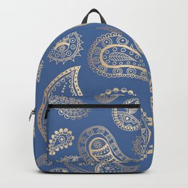 Classic blue and gold paisley Backpack