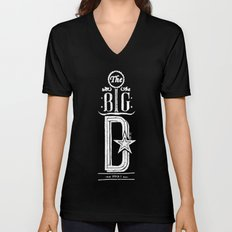 The Big D (wht) Unisex V-Neck