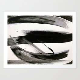 Brushstroke 9: a bold, minimal, black and white abstract piece Art Print