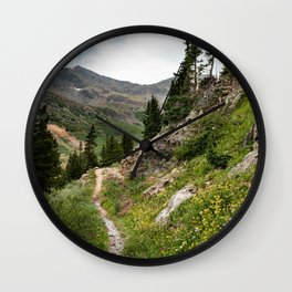 Mountainside Wildflowers Wall Clock