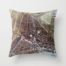 Replica city map of Rotterdam 1652 Throw Pillow