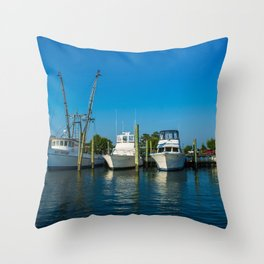 Boating Pier Throw Pillow
