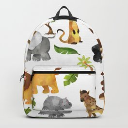 Safari Animals Pattern Watercolor Backpack