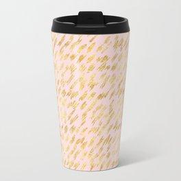 Blush Pink Gold Glitz Abstract Travel Mug