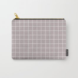Black Shadows - violet color - White Lines Grid Pattern Carry-All Pouch